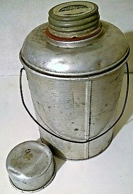 Vintage  Faris Metal Thermos Picnic Jug Canteen with Ball Glass Jar and Cup