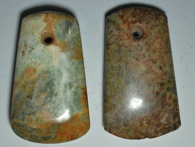 Wonderful Ancient Chinese Neolithic Pair Of Jade Carved Celts Ax Chisel Axe Adz