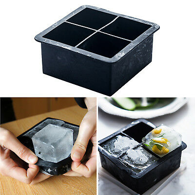 Big 4 Giant Jumbo King Size Large Silicone Ice Cube Mold Square Tray Mould DIY