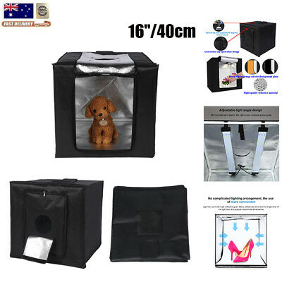 16'' Square Photo Studio Softbox Tent LED Light Board 3 Background Backdrops Kit