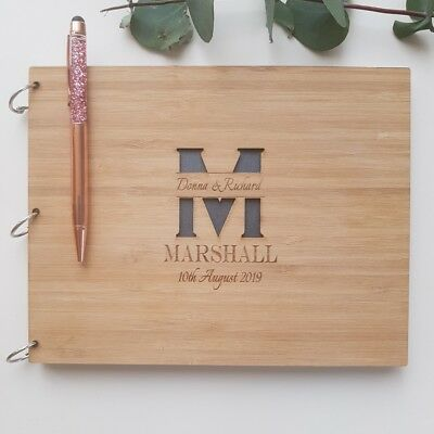 Personalised Engraved Wooden Wedding Guest Book