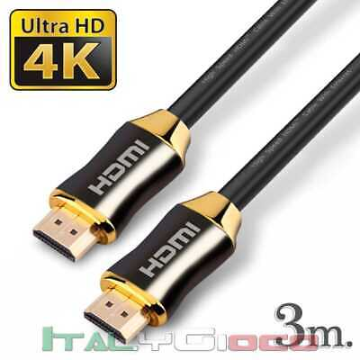 Cavo HDMI Premium High Speed V2.0 Ultra HD TV Ethernet 4K 3D PS4 Arc 3 m Nero