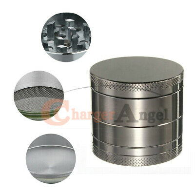 Tobacco Herb Grinder Spice Herbal 4 Piece Zinc Alloy Smoke Crusher With Scoop US
