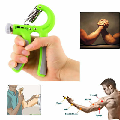 UK Stock Hand Grip Strengthener Trainer Adjustable Arm Exerciser Non-slip CE