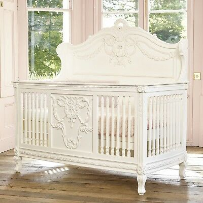IN STOCK  - French Rococo white hand carved cot bed - Painted to order