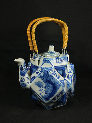 Vintage BLUE & WHITE Chinese / Japanese Hexagonal Style Teapot