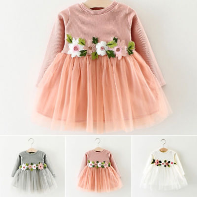 UK 1PC Pretty Toddler Baby Girl Floral Dresses Princess Party Prom Tulle Dresses