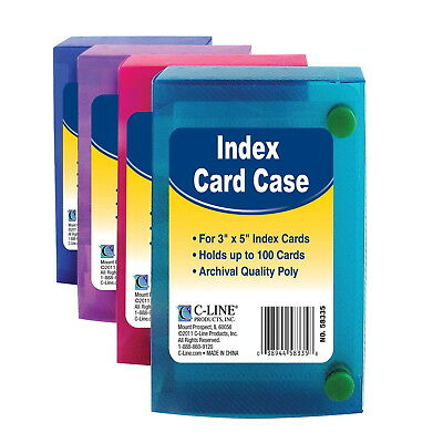 C-Line Polypropylene Index Card Case, 3 x 5 Inches, No Color Choice
