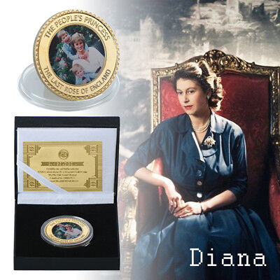 WR Royal Princess Diana /w Son Prince William Harry GOLD Coin Mint In Box