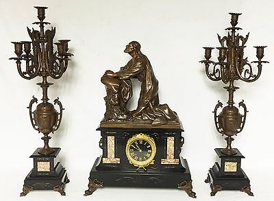 1218 Antique Marble, Bronze Colored French Three Piece Clock Set. Uhr, Horloge