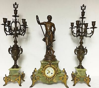 1207 Antique Onyx French Three Piece Mantel Clock Set. Uhr, Horloge