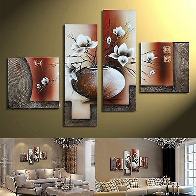 Canvas Wall Art Framed Stretched Panels Hand Painted Abstract Large Modern Decor