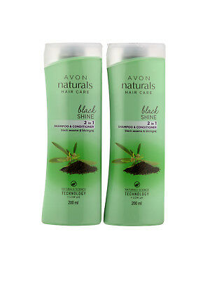 Avon Naturals Black Shine 2 In 1 Shampoo & Conditioner - 200ml x 2 (Pack of 2)