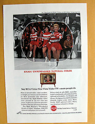 Vintage Magazine Print 1963 Ad for RCA Victor New Vista Color TV