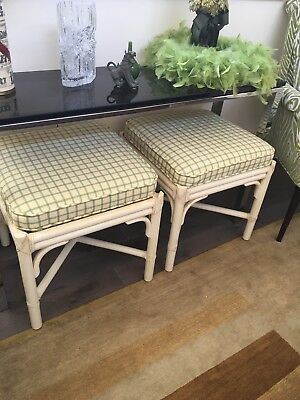 Pair of vintage McGuire foot stools white finished tagged great condition