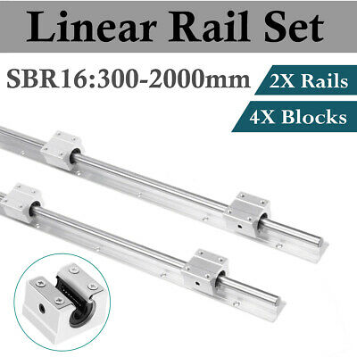 2Pcs SBR16 300-2000mm LINEAR SLIDE GUIDE SHAFT RAIL+4Pcs SBR16UU Block Bearing