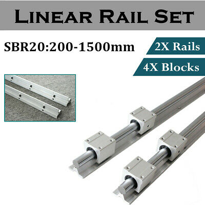 2X SBR20 Linear Rail Shaft Rod 200-1500mm with 4pcs SBR20UU Block Bearing