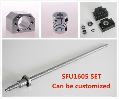 Ball Screw SFU1605 L250mm-1050mm Nut Housing & BK12 BF12 + 6.35x10 Coupler Set