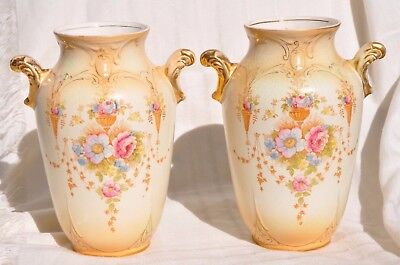 "Pair Antique Crown Devon Fieldings ""spring"", Handled Vases, 9 1/4 Inch,england"
