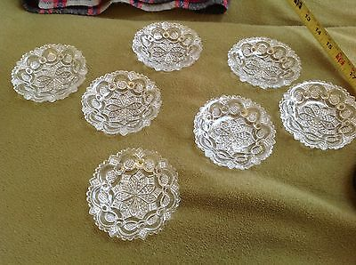 Seven Deep Well 1830s Boston & Sandwich Glass Roman Rosette Lacy Cup Plates
