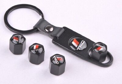 Set of 4 Car Tire Valve Stem Air Caps Cover + Keychain For TRD