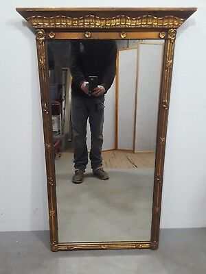 Vintage Antique Gilt Frame Mirror Louis XV French Style Ribbon Border