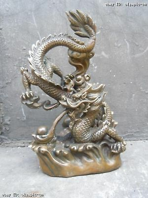 12 Inch Chinese brass copper carved hover dragon play bead Sculpture statue