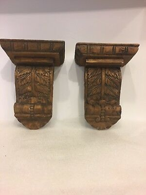 Vtg. rustic architectural artisan hand carved wood corbel shelf scone wall shelf