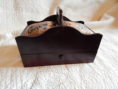 Vintage Wooden Sewing Box with cloth top, drawer and  hinged