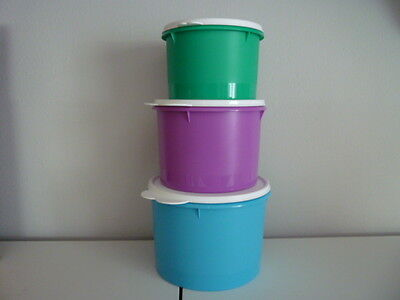 New Tupperware 3 pc Canister Set 10, 7, 5 Cup Nesting Aqua Purple Teal Stacking