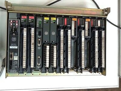 Allen Bradley 1771-A3B1 12 Slot I/O Chassis With Cards. VI