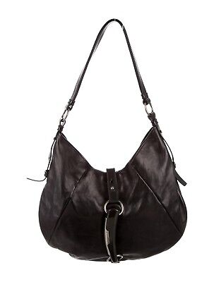 712223d1d1fc YSL Yves Saint Laurent Shangrila Mombasa Shoulder Bag Black Smooth Leather  Horn