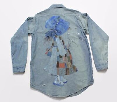VTG 70s Hippie Hand Painted Holly Hobbie Chambray Oversized Shirt Dress