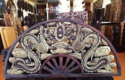 Thai Hand Carved Teak Wood 2 Dragon Semicircle Art Sculpture Hanging Wall Decor