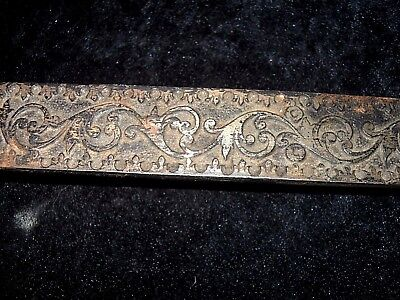 "ANTIQUE Vintage Ornate 18"" BLACK METAL Cast Iron? Door Gate Latch SLIDE LOCK"