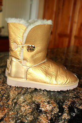 4163f92c4fc UGG AUSTRALIA BAILEY Button Mirage Women US 7 Gold Winter Boot NICE