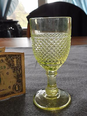 Antique Central Glass Canary Vaseline Scalloped Diamond Point Wine Cordial