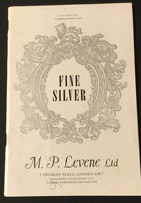 1966 Pamphlet Catalog Fine Silver M. P. Levene Ltd  London Price Guide Vtg
