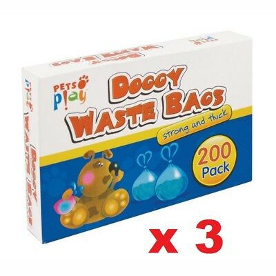 3 x 200 DOGGY DOG WASTE PET PUPPY CAT POO POOP BAGS SACKS DISPOSABLE SCENTED