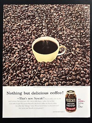 1955 Vintage Print Ad 50's NESCAFÉ Instant Coffee Beans Yellow Cup Steam