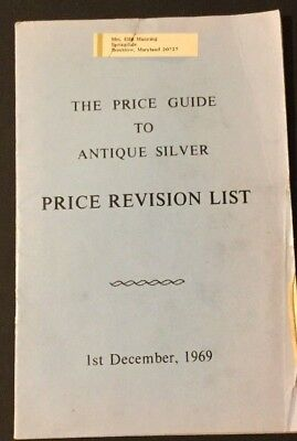 Vtg Pamphlet Catalog The Price Guide to Antique Silver December 1, 1969