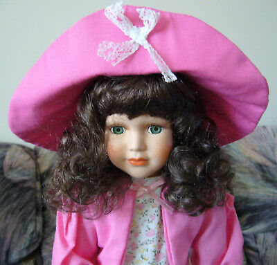 NWT Porcelain Doll Floral Dress Hat Country Style Southern Belle