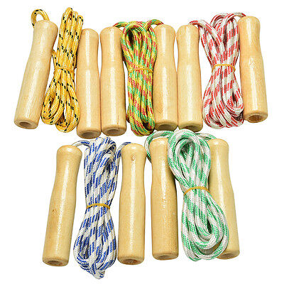 Kids Skipping Rope Wooden Handle Jump Play Sport Exercise Workout Toy LJ