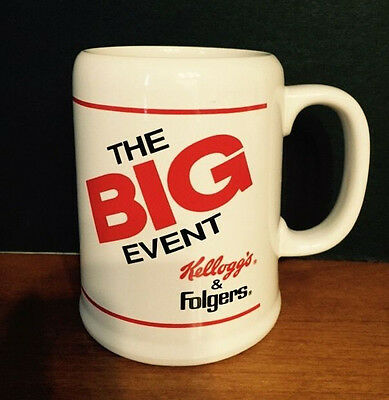 "Large Folgers Kelloggs Coffee Mug Cup White w Red ""The Big Event"""