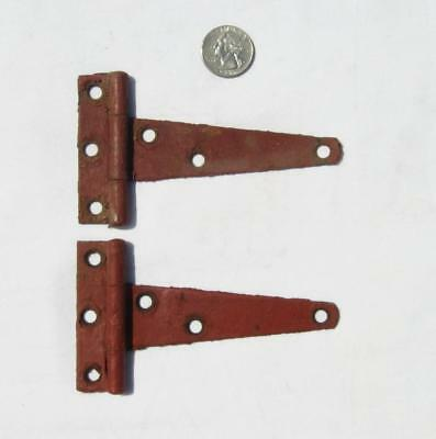 "2 VTG 5"" Barn Hinges Red Chippy Paint Farm Hardware Pair Door Chicken House SM"