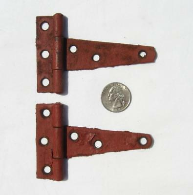 "2 VTG 4"" Barn Hinges Red Chippy Paint Farm Hardware Pair Door Chicken House SM"