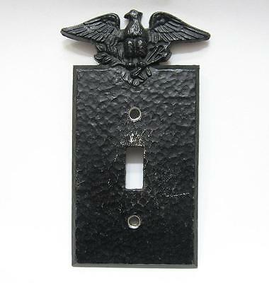 Vintage Eagle Light Switch Cover Plate Hammered Black Colonial EMIG 804 Metal