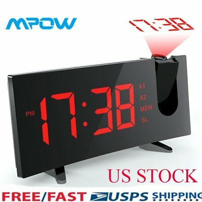 LCD Digital Projection Snooze Alarm Clock  LED Projector Red Backlight Time