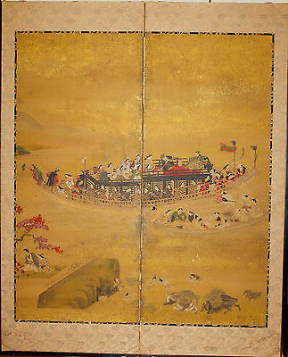 ANTIQUE JAPANESE TWO PANEL GOLD LEAF SCREEN EDO PERIOD Hishikawa Moronobu EDO Pe