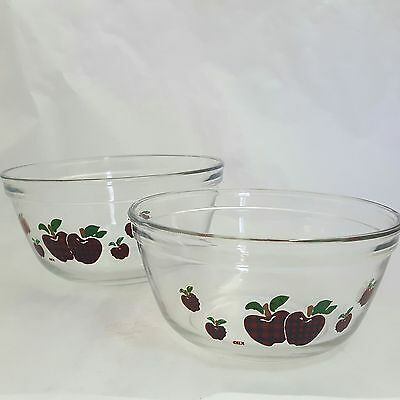 Anchor Ovenware Mixing Bowls Plaid Apple Motif Mixing Bowls Set Of 2
